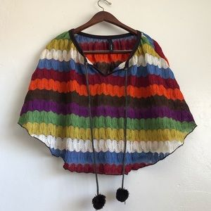 Estem- Colorful rainbow crochet knitted cape
